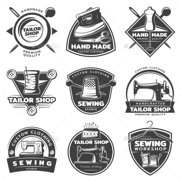 Monochrome Tailor Labels Collection - Miscellaneous Vectors