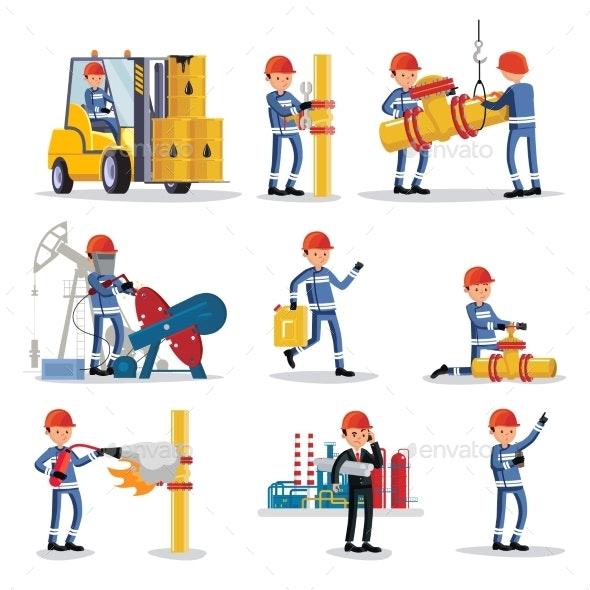 Oil Industry People Set - Industries Business