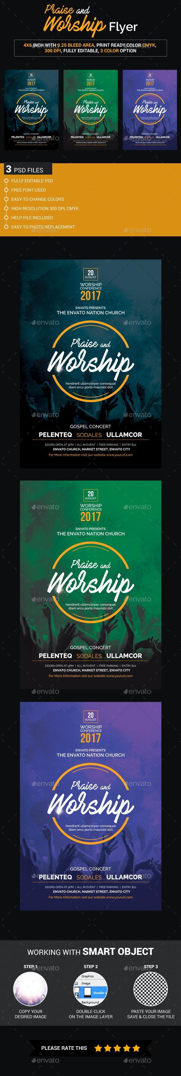 Praise and Worship Flyer - Church Flyers
