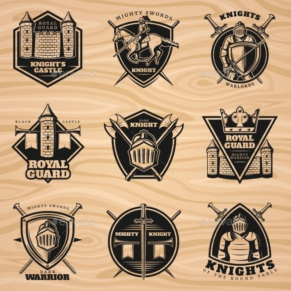 Black Vintage Knights Emblems Set - Miscellaneous Vectors
