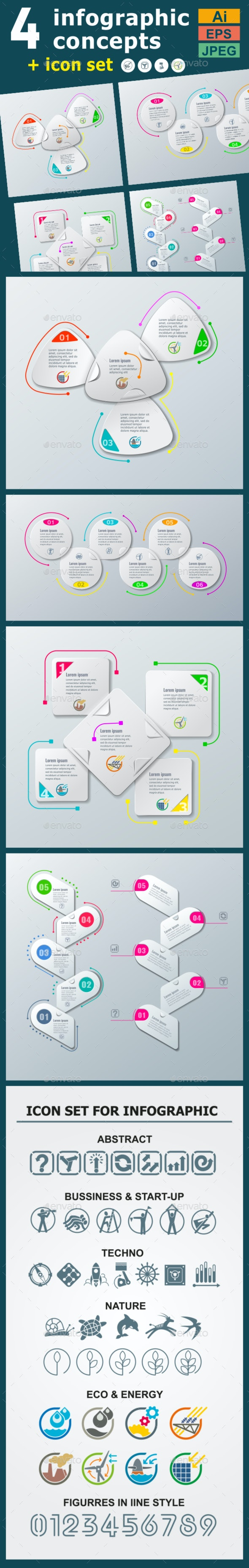 Infographic Templates in Paper Style. v.01 - Infographics