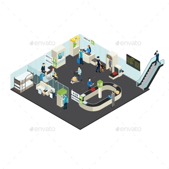 Airport Interior Isometric Concept - Man-made Objects Objects