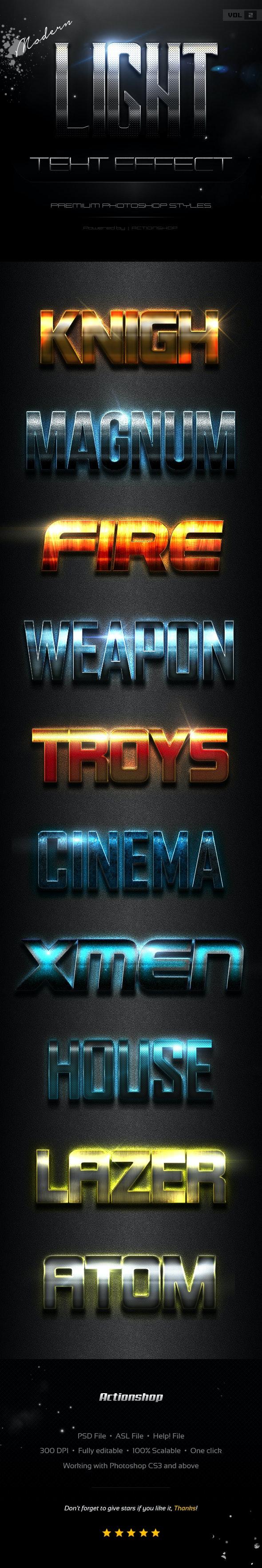 10 Modern Light Text Effects Vol.2 - Text Effects Styles
