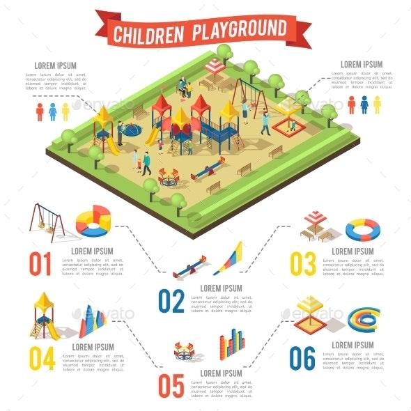 Isometric Playground Infographic Concept - Miscellaneous Vectors