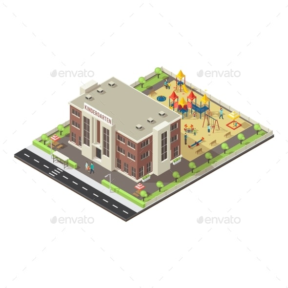 Colorful Isometric Children Playground Concept - Buildings Objects