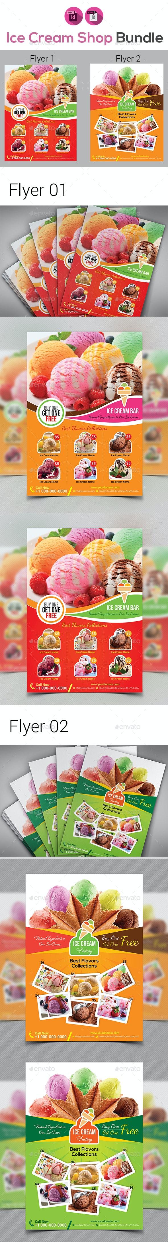 Ice Cream Shop Flyers Bundle - Flyers Print Templates