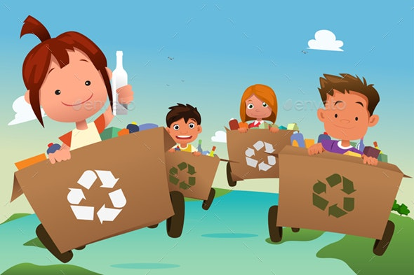 Group of Kids Recycling Trash - People Characters