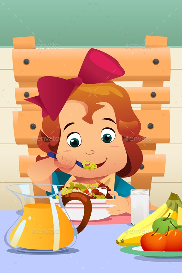 Little Girl Eating Salad Vegetables - People Characters