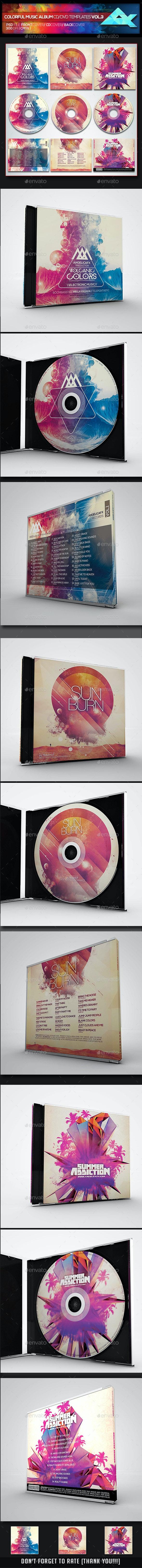 Colorful CD/DVD Album Covers Bundle Vol. 3 - CD & DVD Artwork Print Templates
