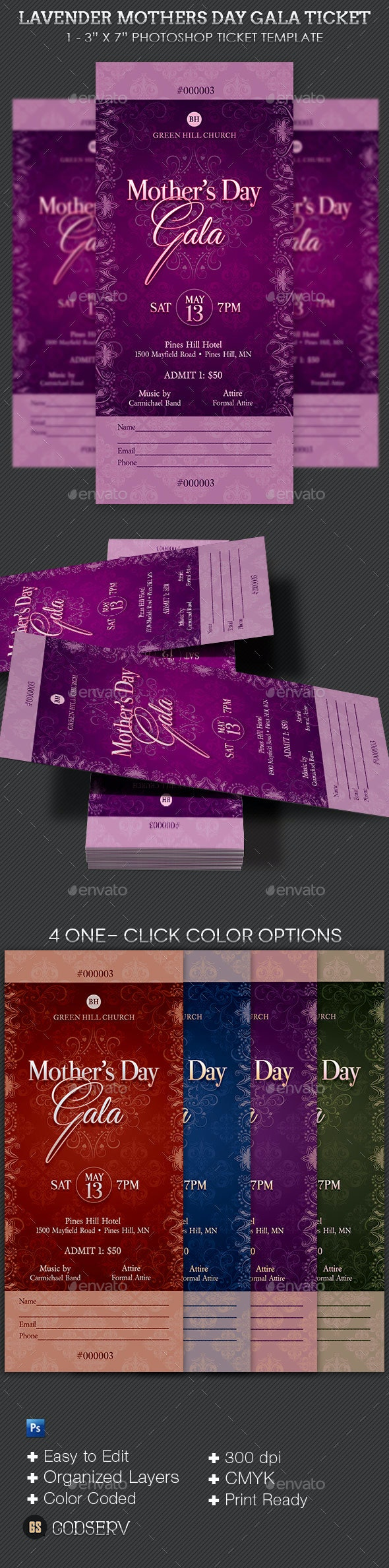 Lavender Mothers Day Gala Ticket - Miscellaneous Print Templates