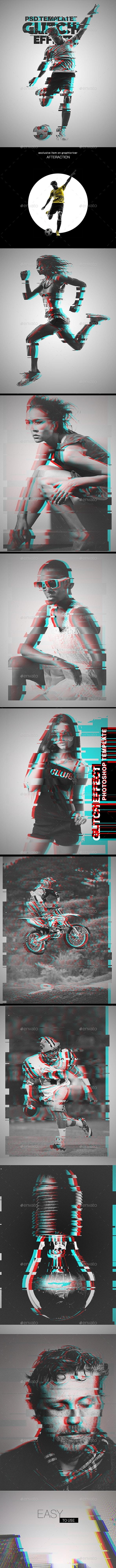 Glitch Effect Photoshop Template - Artistic Photo Templates