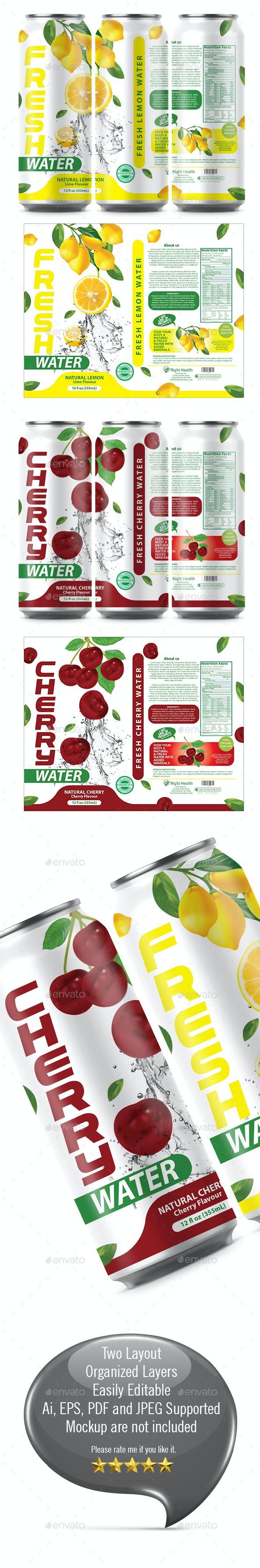 Lemon Water Label Template - Packaging Print Templates