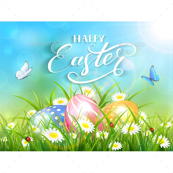 Blue Background with Three Easter Eggs in Grass - Miscellaneous Seasons/Holidays