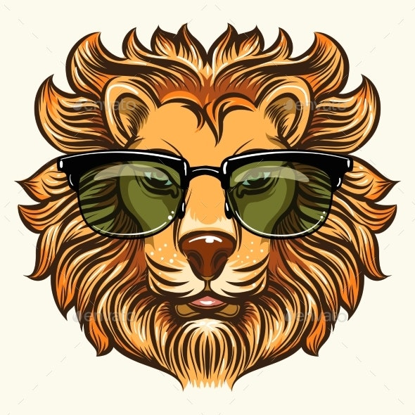 Lion in Glasses in Cartoon Style - Animals Characters