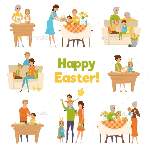 Happy Easter Family Set - People Characters