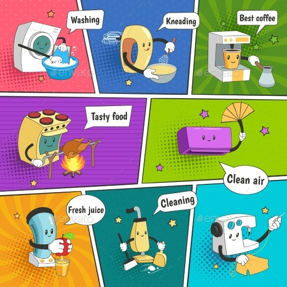 Household Appliances Colorful Comic Page - Backgrounds Decorative