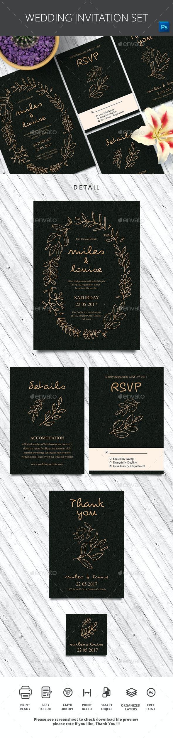 Wedding Invitation Set - Wedding Greeting Cards
