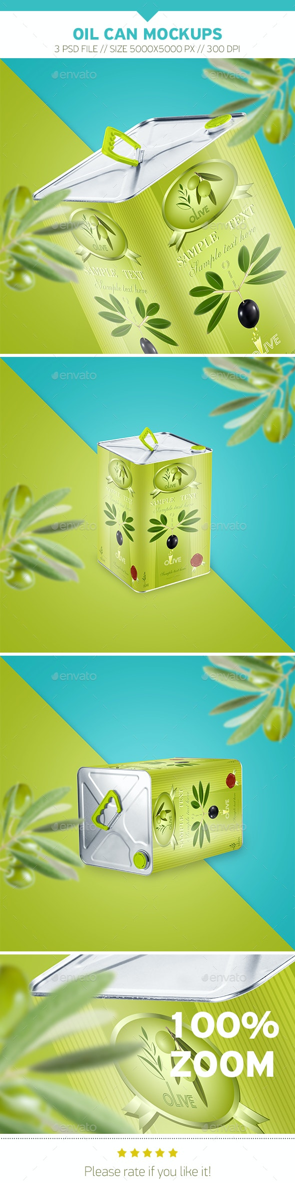 Oil Can Mockups - Product Mock-Ups Graphics