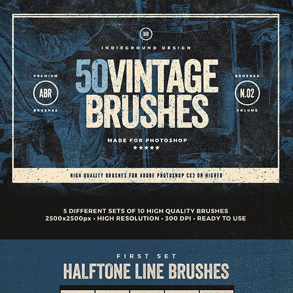 50 Vintage Brushes Set Vol. 2