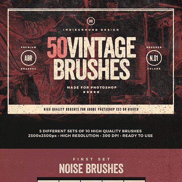 50 Vintage Brushes Set