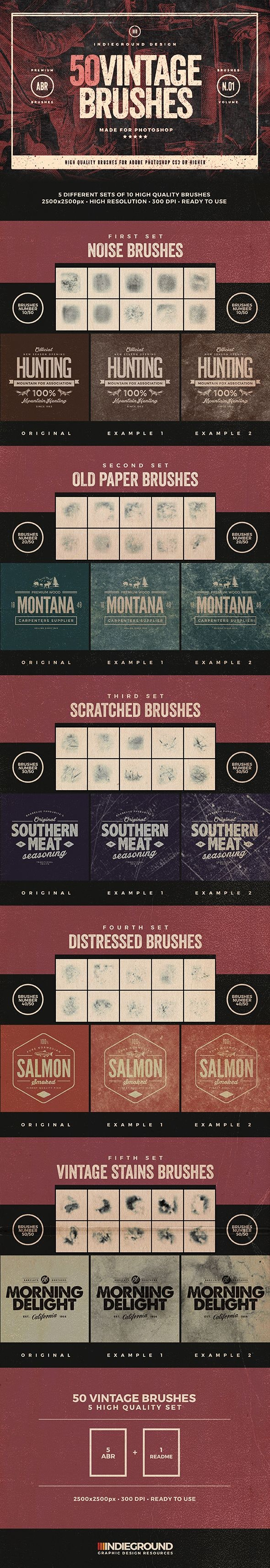 50 Vintage Brushes Set - Brushes Photoshop