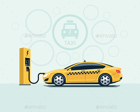 Electric Taxi Car Charging at the Charging Station - Travel Conceptual