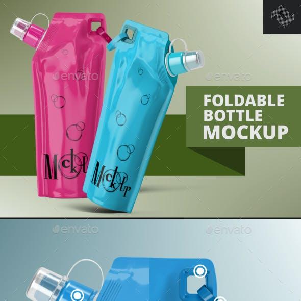 Plastic Foldable Water Bottle Mockup