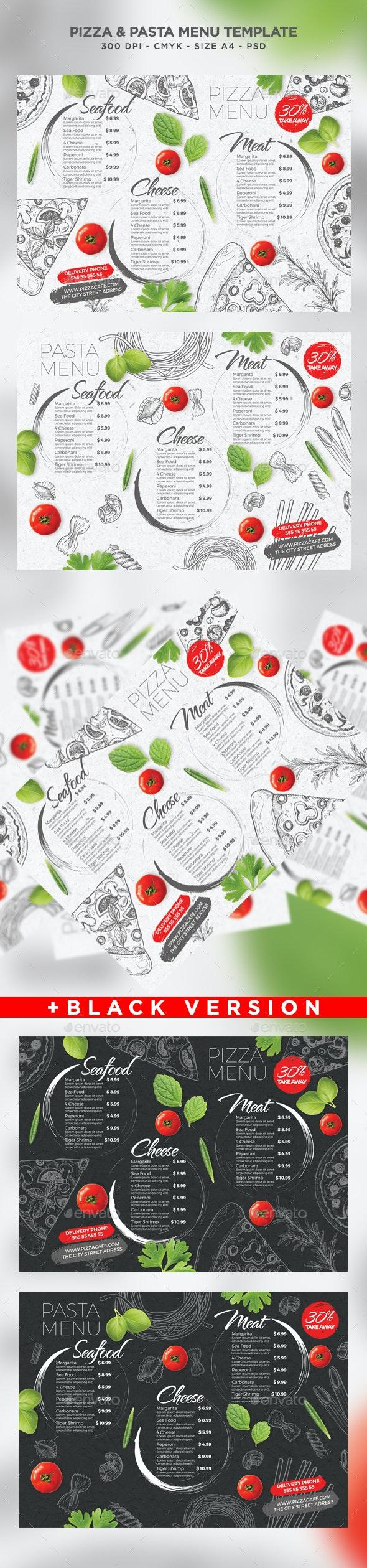 Pizza and Pasta Menu - Food Menus Print Templates
