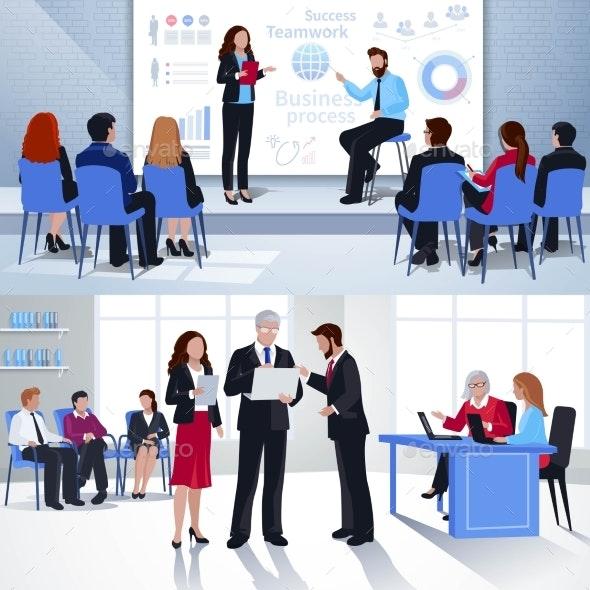 Coaching Horizontal Flat Banners - Business Conceptual