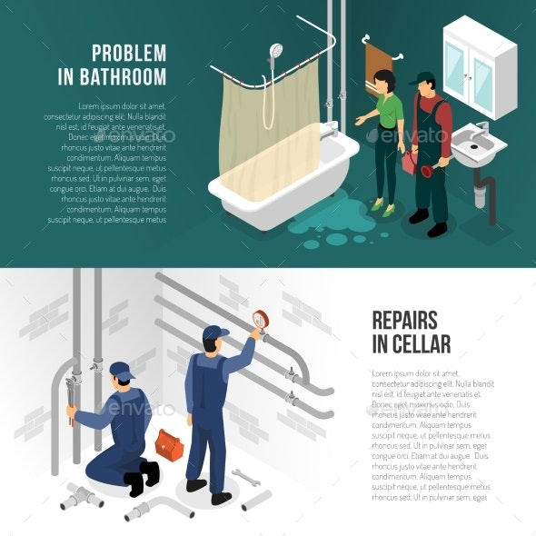 Plumber Pipeline Repair Banners - Technology Conceptual