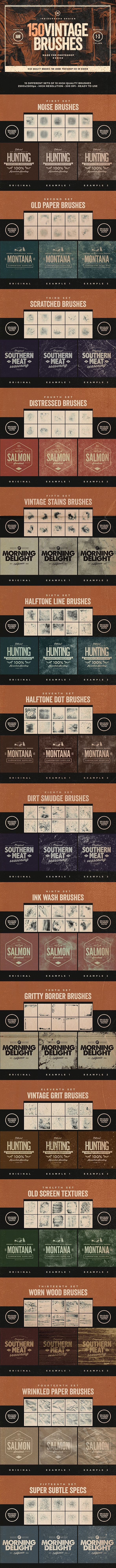 150 Vintage Brushes Bundle - Brushes Photoshop