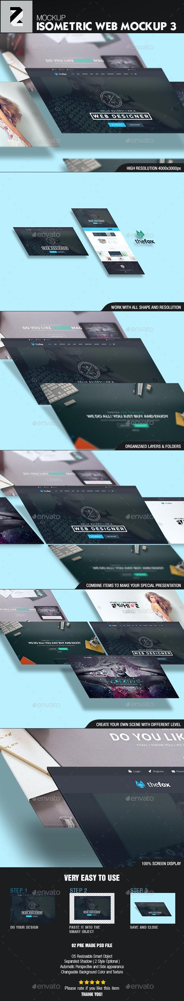 Isometric Web n App Mockup 3 - Website Displays