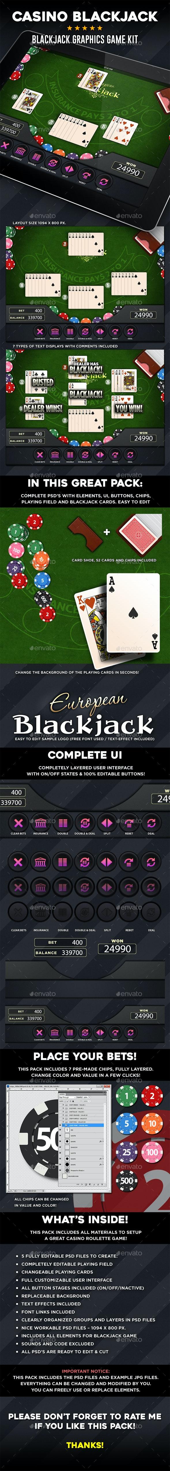 Casino Blackjack Graphics Game Kit - Game Kits Game Assets