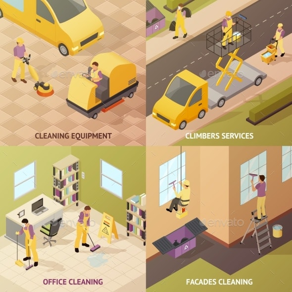 Isometric Industrial Cleaning Concept - Objects Vectors