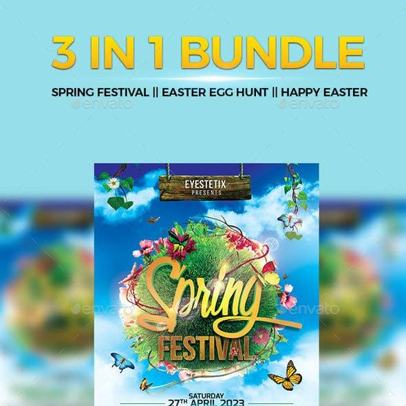 3 in 1 Flyer Bundle Spring Festival - Easter Egg Hunt - Happy Easter