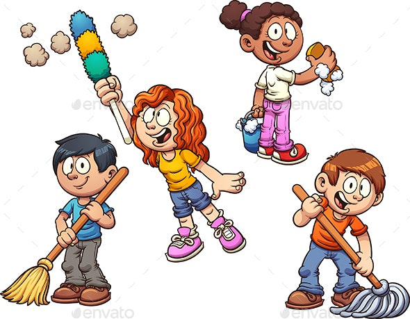 Kids Cleaning - People Characters