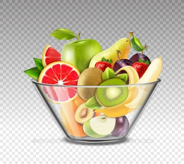 Realistic Fruits In Glass Bowl - Food Objects