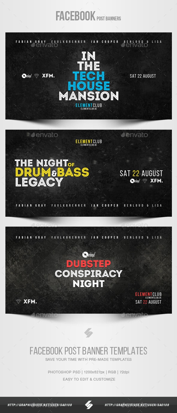 Electronic Music Party vol.17 - Facebook Post Banner Templates - Social Media Web Elements