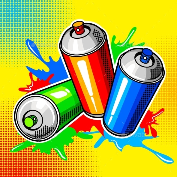 Colorful Paint Cans Comic Book Style Vector - Miscellaneous Vectors