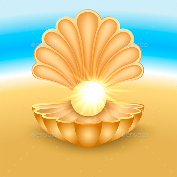 Seashell with Pearl on the Beach - Miscellaneous Vectors