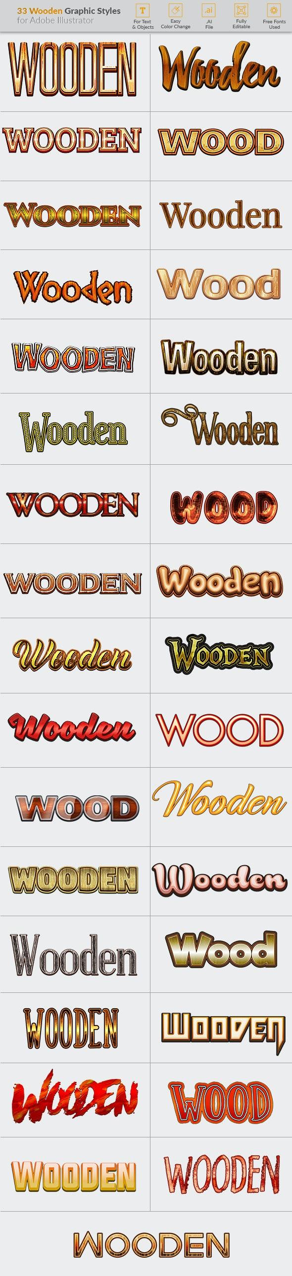 33 Wooden Graphic Styles for Illustrator - Styles Illustrator