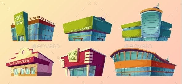 Cartoon Illustrations Retro and Modern Supermarket - Buildings Objects