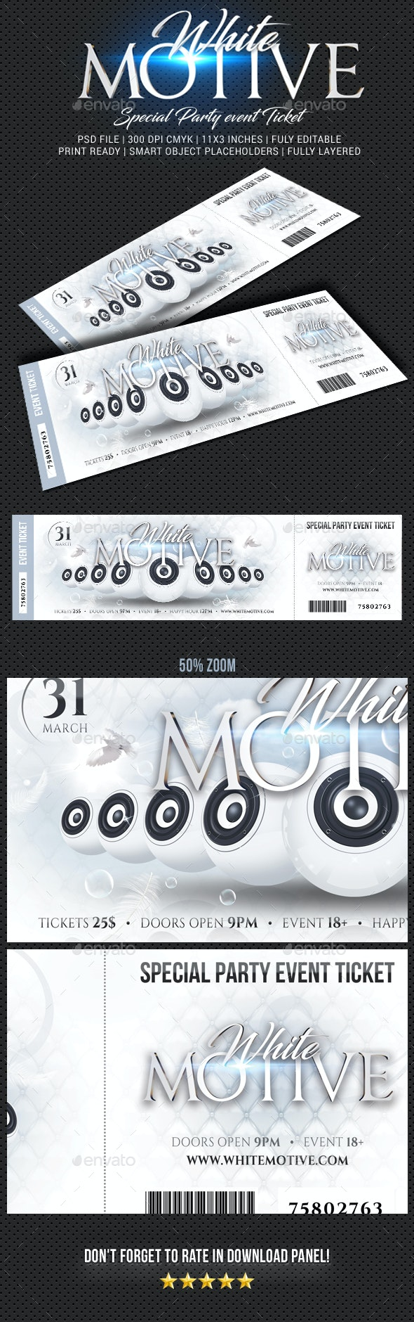 Special Party Event Ticket V12 - Cards & Invites Print Templates