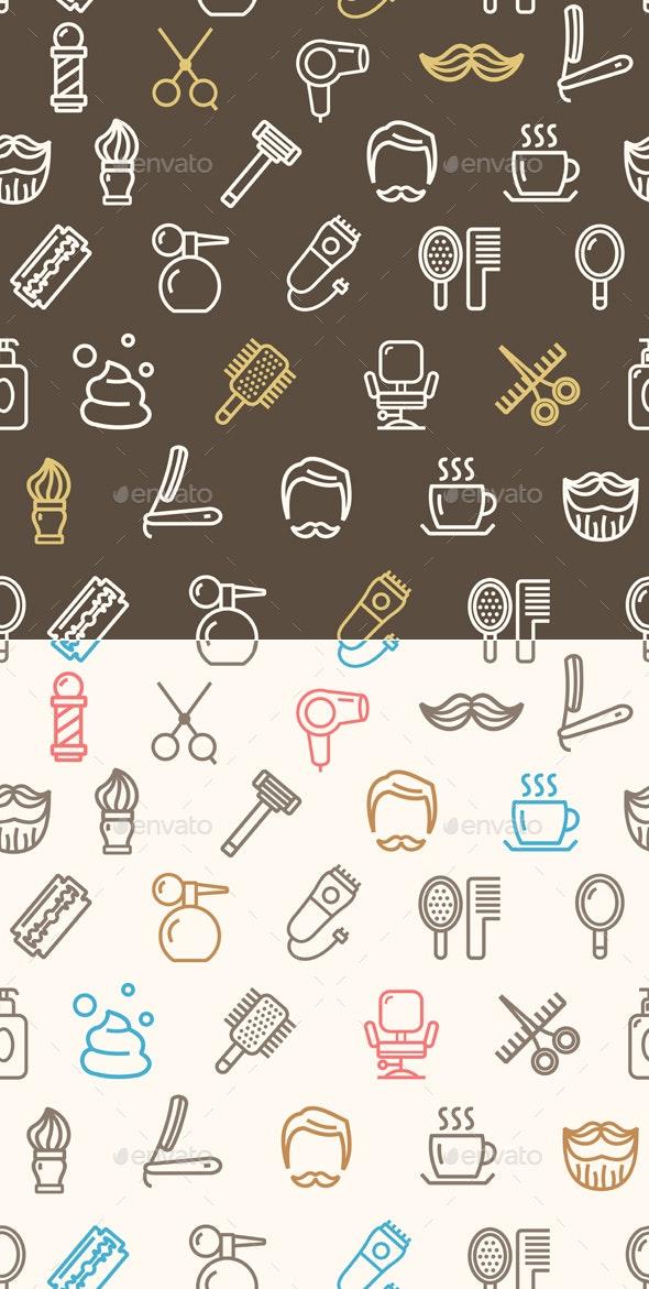 Barber Shop Pattern Background - Patterns Decorative