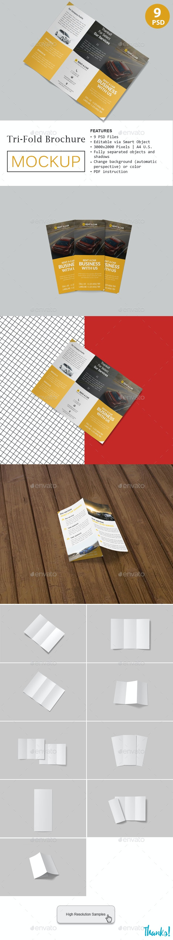 Trifold Brochure Mockup - Product Mock-Ups Graphics