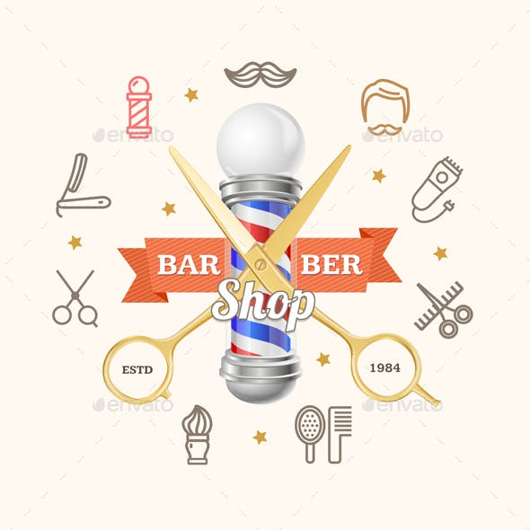 Barber Shop Emblem with Gold Scissors and Pole
