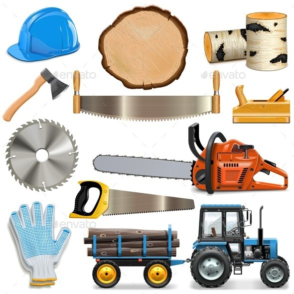 Sawmill Icons - Industries Business