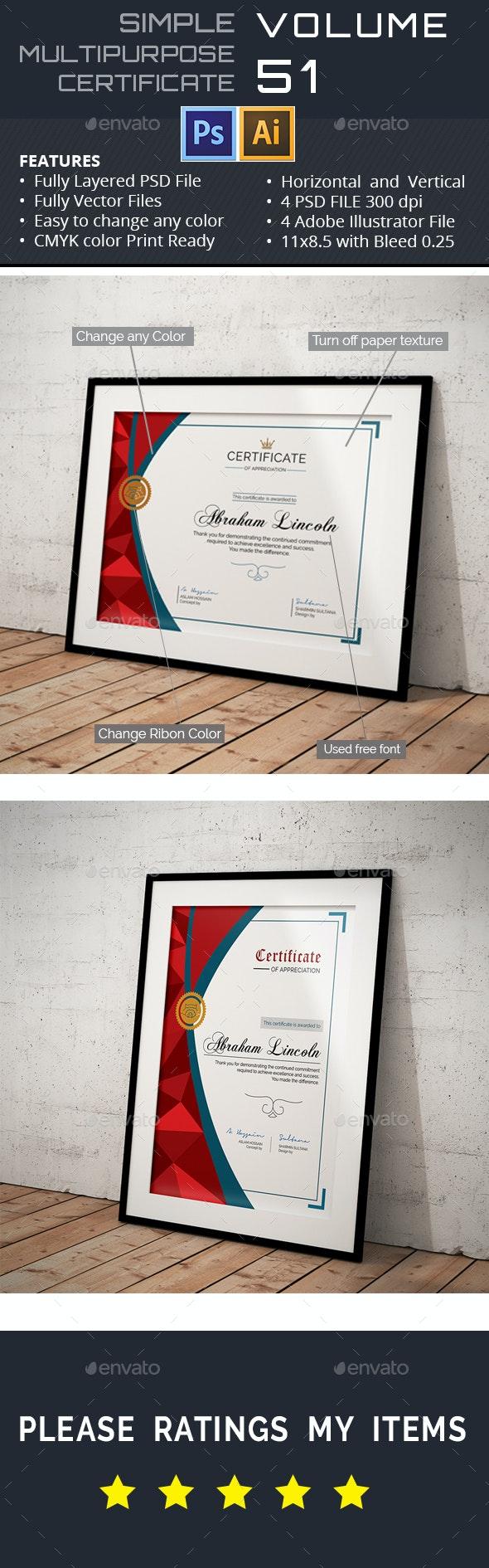 Multipurpose Certificate GD051 - Certificates Stationery