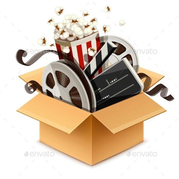 Full Cardboard Box Filled Cinema and Filmmaking