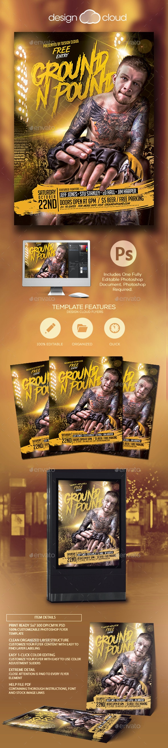 Ground -N- Pound Flyer Template - Sports Events